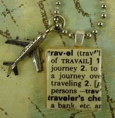 Items similar to TRAVEL Vintage Dictionary Definition Scrabble Necklace on Etsy Scrabble Tile Jewelry, Scrabble Tile Crafts, Scrabble Art, Travel Scrabble, Aviation Theme, Dictionary Definitions, Paper Plane, Travel Jewelry, Diy Accessories