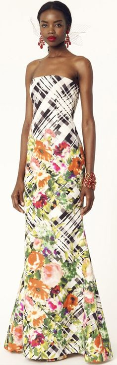 Oscar de la Renta 2014 Resort - Multicolor Chine Floral Tartan Print Silk Faille Strapless Gown