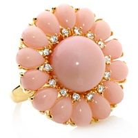 """RARITIES~Fine Jewelry with Carol Brodie Osiana Coral and White Topaz """"Floral"""" Ring Sterling silver Vermeil Tapered shank Coral Ring, Coral Jewelry, Fine Jewelry, Women's Jewelry, Silver Jewellery, Statement Jewelry, Walmart Jewelry, Jewelry Stores, Luxury Engagement Rings"""