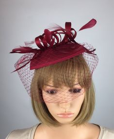 Bride Headband, Wedding Headband, Pink Fascinator, Ascot Hats, Thing 1, Burgundy Wine, Race Day, Fascinators, Ladies Day
