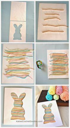 A silhueta do coelho é preenchida por vários fios de barbantes coloridos. O efeito é muito legal!