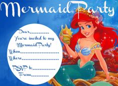 Ariel disney little mermaid free birthday invitation site has this is a free printable mermaid party invitation just fill in the blanks to personalise it filmwisefo Choice Image