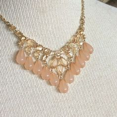Peach Gold Tone Statement Necklace New