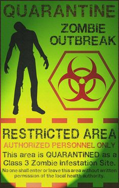 Zombie Quarantine Atmospheric by Memnalar on DeviantArt Halloween Signs, Halloween 2020, Fall Halloween, Halloween Crafts, Halloween Decorations, Halloween Party, Zombie Apocalypse Party, Zombie Apocolypse, Apocalypse Survival