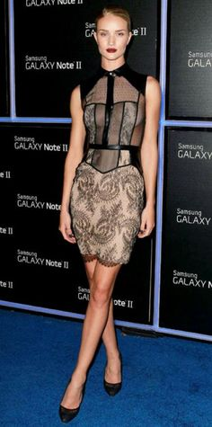 Look of the Day › October 26, 2012 WHAT SHE WORE At the Samsung Galaxy Note II launch, Huntington-Whiteley smoldered in a lace Jason Wu design and black pumps.