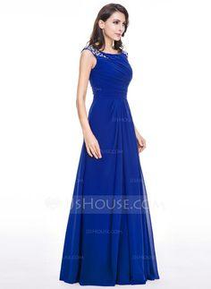 Vestidos princesa/ Formato A Decote redondo Longos De chiffon Vestido de festa com Pregueado Bordado Lantejoulas (017056497) - JJsHouse