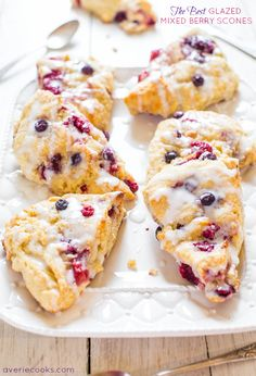 The Best Glazed Mixed Berry Scones - If you've always thought scones were dry, this easy recipe will change your mind forever!