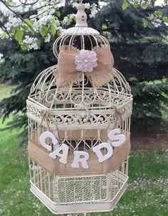 Rustic Wedding Birdcage Card Box  Vintage Birdcage by LoRustique