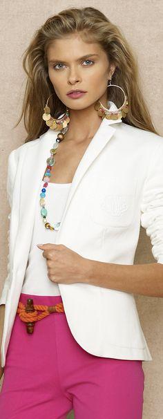 Ralph-Lauren-Cruisewear-2013; Rope belt, gemstone necklace, copper/gemstone earrings