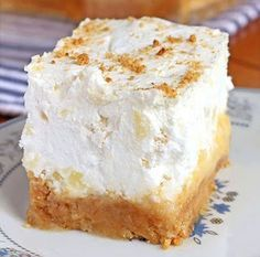 Ingredients: Crust 3 cups graham cracker crumbs cup butter, melted Filling cup butter, softened 2 cups icing sugar (powdered sugar) 2 eggs 1 tsp vanilla Pineapple Layer 2 can of crushed pineapple, drained (about 1 Cold Desserts, Summer Desserts, Easy Desserts, Delicious Desserts, Dessert Recipes, Icebox Desserts, Refreshing Desserts, Layered Desserts, Icebox Cake