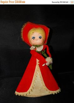 Vintage Red Dickens Caroler Christmas Tree by TheIDconnection