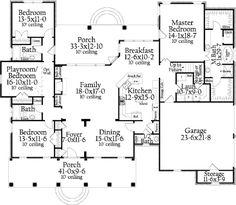 Southern Style House Plan - 3 Beds 3.5 Baths 2638 Sq/Ft Plan #406-9618 Floor Plan - Main Floor Plan - Houseplans.com