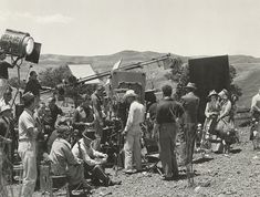 All hands on deck: The film crew is seen filming 'the cotton field scene'. Image courtesy of Harry Ransom Center.