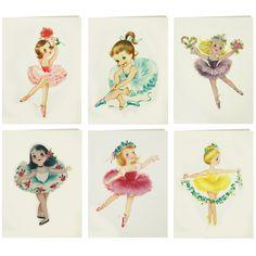 Vintage Ballerina DollsSet of 6 Blank Cards - Modern Lola Vintage Ballerina, Ballerina Doll, Little Ballerina, Ballerina Birthday, Retro Images, Vintage Images, Ballet Illustration, Dance Crafts, Ballet Pictures