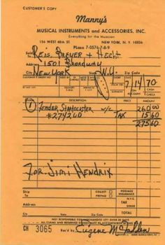 """"""" Jimi Hendrix receipt for a Fender Strat from Manny's Music NYC, 1970 """""""