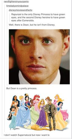 Dean Winchester, Disney princess (The final comment. YES! OUR FANDOM HAS REACHED OTHERS VIA THE COMPARISON OF DEAN TO A PRINCESS! MUAHAHAHA)
