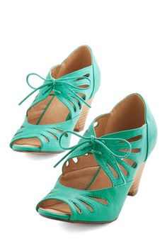Lace Me Up Before You Go-Go Heel in Jade by Chelsea Crew - Mid, Faux Leather, Green, Solid, Cutout, Party, Work, Vintage Inspired, 20s, Bett...