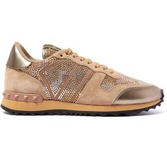 Valentino Gold Camo Embellished Trainers ($1,310) ❤ liked on Polyvore featuring shoes, sneakers, print shoes, print sneakers, camouflage shoes, gold sneakers and camouflage footwear