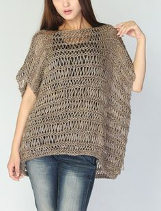 this is knit but could be in crochet  Knit loose sweater cotton Tunic in Mocha by MaxMelody on Etsy