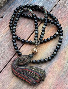 Beautiful golden rainbow obsidian mala necklace by look4treasures