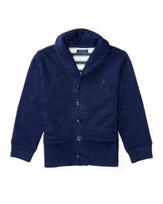 K0AAG Ralph Lauren Childrenswear Melange Fleece Shawl-Collar Cardigan, Blue, Size 5-7