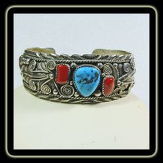Sterling Silver Cuff Bracelet with Red Coral and Morenci