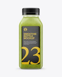 Green Smoothie Bottle Mockup - Front View