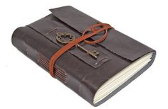 Dark Brown Vegan Faux Leather Journal with Key Charm Bookmark handmade
