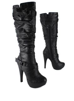 Jet Black Knee High Faux Leather Pencil Heeled Slouch Boots