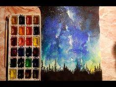 Как научиться рисовать: УРОК 6. Ночь, звездное небо (акварель) - YouTube