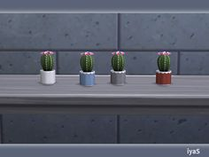 Adorable cactus with flowers. Part of North Star set. 4 color variations. Category: Decorative - Plant. Found in TSR Category 'Sims 4 Plants'