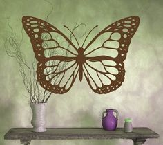 Butterfly vinyl wall decal one large butterlfy by RadRaspberry, $28.00