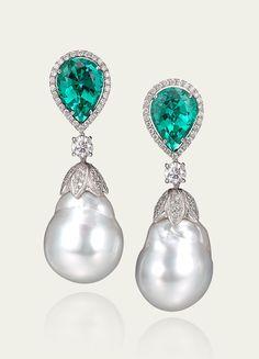 Tamsen Z Blue-Green Tourmaline, White Baroque Pearl & Diamond Earrings