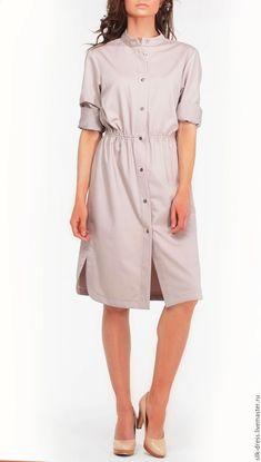 Купить Платье-рубашка бежевого цвета - бежевый, платье, платье-рубашка, платье летнее