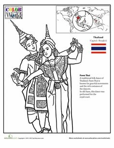 Worksheets: Color the World: Thailand