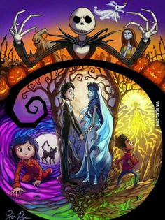 Tim Burton has created the ideas for some amazing movies (Top: Nightmare Before Christmas Left: Coraline Middle: Corpse Bride Right: Paranorman) Tim Burton Stil, Tim Burton Kunst, Estilo Tim Burton, Tim Burton Art, Tim Burton Drawings, Disney Kunst, Disney Art, Dark Disney, Jack Skellington