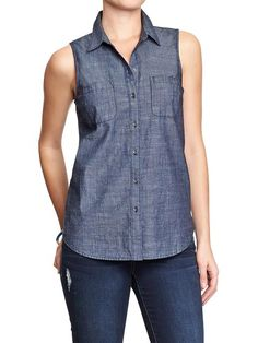 Women's Sleeveless Chambray Shirts Product Image