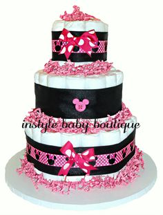 3 Tier Pink/Black Minnie Mouse Diaper Cake - InStyle Baby Boutique