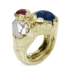 Milly Swire : Barnacle Ring 9 karat yellow gold barnacle ring with a cabochon azurite, pearl and carved ruby.