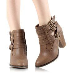 WEST BLVD Tan Hanoi Bootie ($25) ❤ liked on Polyvore featuring shoes, boots, ankle booties, ankle boots, short boots, high heel boots, buckle ankle boots and high heel booties