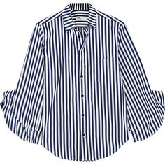 Toga London ruffled striped cotton-poplin shirt (25.610 RUB) ❤ liked on Polyvore featuring tops, blouses, navy, blue blouse, ruffle blouse, ruffle sleeve shirt, flutter-sleeve top and shirt blouse