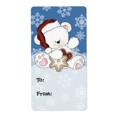 Cute White Polar Bear Winter Snowflakes Scene Personalized Shipping Labels