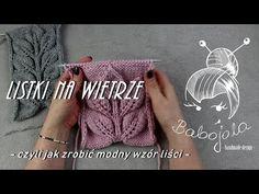"Wzór ""listki na wietrze"". Jak zrobić. Na drutach - YouTube Knitting Stitches, Knitting Needles, Knitting Patterns Free, Free Pattern, Wisteria, Crochet Shawl, Diy And Crafts, T Shirts For Women, Make It Yourself"