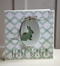 handmade Easter card ... bunny negative space die on an egg shaped tag ... great design ...