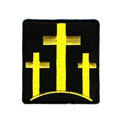 Embroidered Iron On Patch - Black and Yellow Three Crosse... http://www.amazon.com/dp/B01EM6CPCI/ref=cm_sw_r_pi_dp_.E4hxb035545Q #irononpatch #bikerstuff #bikerpatches #motorcyclestuff #threecrosses #religion #god