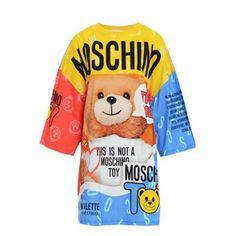 Moschino Damen T-Shirt Kleid mit Multicolor Bear Print günstig kaufen