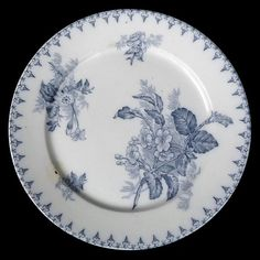 Assiette plate FLORE Sarreguemines U&C camaïeu bleu French blue shades dinner