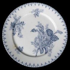 Assiette plate FLORE Sarreguemines U&C camaïeu bleu French blue shades dinner