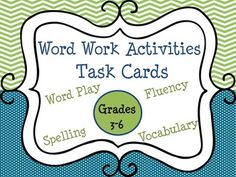 Perfect for Daily Five (5) or literacy centers! Set of 38 Word Work task cards for upper elementary grades! There are 19 pages (38 activities in all) for spelling, vocabulary, word play, & fluency practice. Activities apply to *any spelling or vocabulary words!* Also included are a user guide and Word Work basket labels in PDF and JPEG form for your classroom. Activities are on half a page, so easily cut and laminated into task cards.