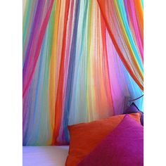 Use outside around seating! Hand Dyed Cotton Rainbow Bed Wrap Bed Net Canopy Room Wrap ($10) ❤ liked on Polyvore